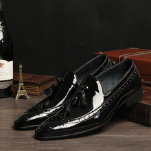 QYFCIOUFU Fashion Genuine Leather Shoes Tassel Men Dress Shoe Pointed Oxfords Shoes Lace Up Brogues Luxury Men Formal Shoes
