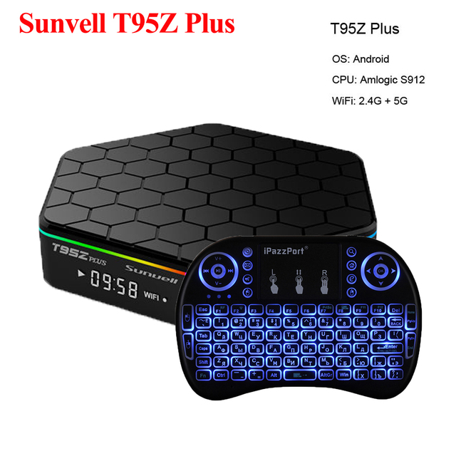 US $61 22 21% OFF|Sunvell T95Z Plus Android 7 1 Smart Box Amlogic S912 Octa  Core 4K x 2K H 265 Decoding 2 4G+5G Dual Band WiFi Media Player TV Box-in