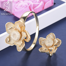 SISCATHY Fashion Women Bracelet/Ring Trendy Nigerian Wedding Jewelry Sets Full Cubic Zirconia Inlaid Bracelet Ring