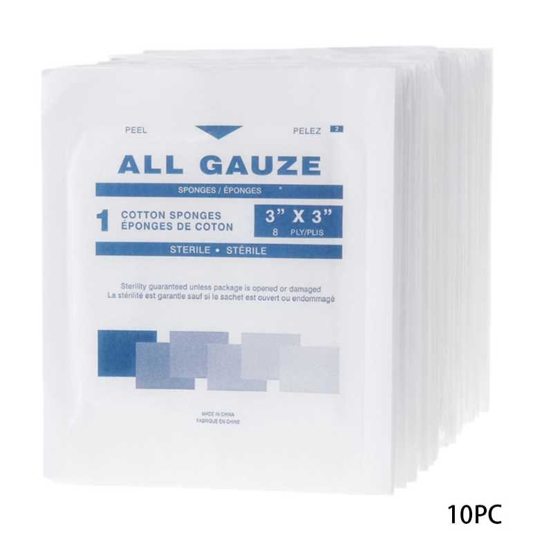 10Pcs First Aid Kit Wound Dressing Big Gauze Pad Medical Care Sterile  7 5x7 5cm