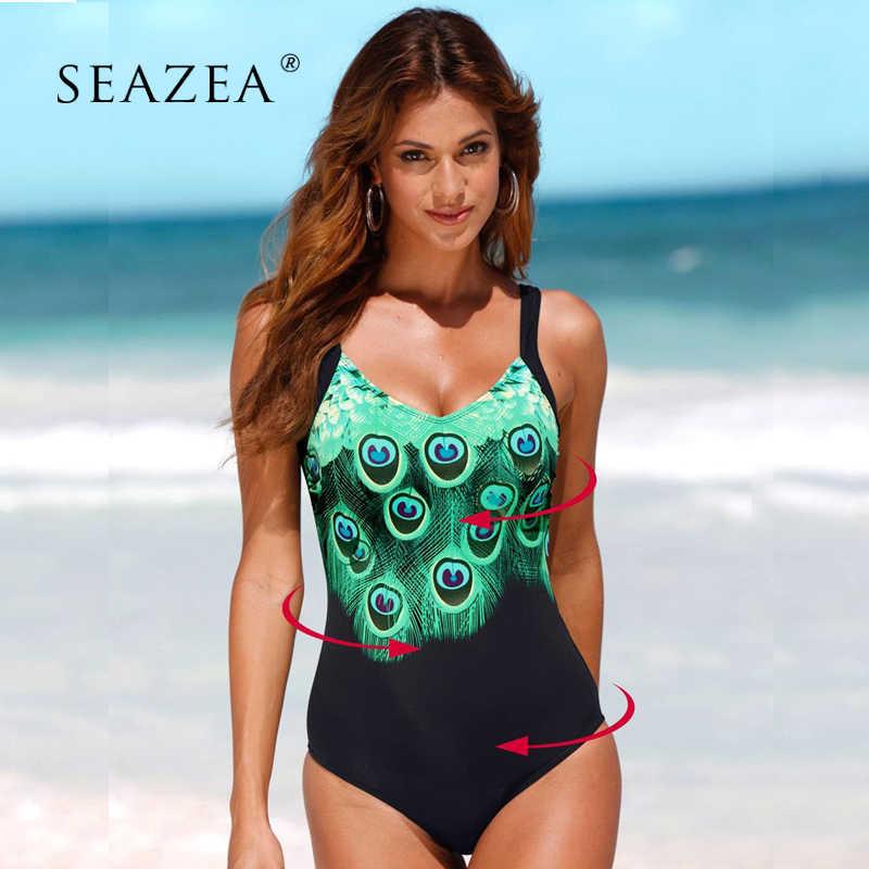 b51e652ffe5 Seazea 2019 Sexy One Piece Swimsuit Print Feather Tankini Female Bikinis Bathing  Suits Women Swimwear Plus