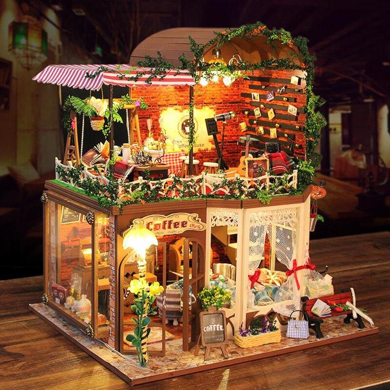 Миниатюрный DIY кукольные домики 3D деревянный Миниатюрный Кукольный дом кукольная мебель комплект игрушки для детей подарки на день рождени...