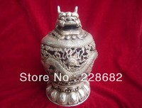 Decorazioni di natale per la casa + Asian Antiques Ming/Dinastia Qing Cinese Argento Dragons Bruciatore Di Incenso