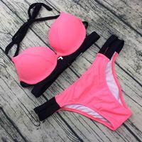Teres Bikinis Women 2017 Solid Swimwear Female Summer Beach Wear Halter Top Bikini Set Beach Swim