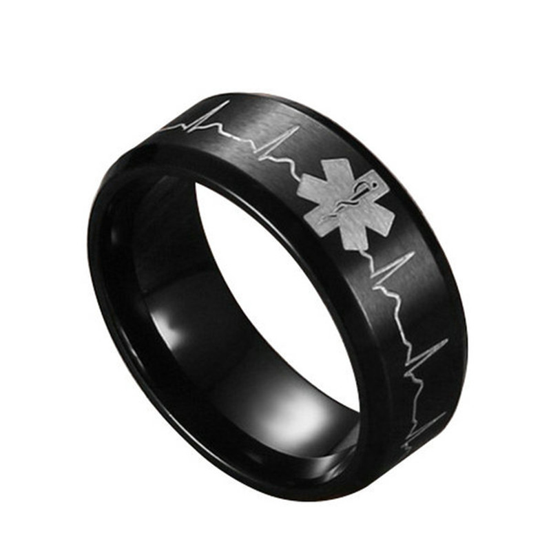 ZN 2018 New Men Stainless Steel Comfort Fit Ring 8MM Laser Engraved Heartbeat Medical Symbol Black Wedding Band