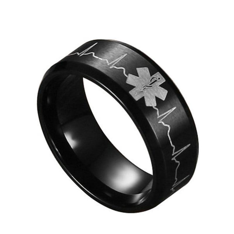 ZN 2018 New Men Stainless Steel Comfort Fit Ring 8MM Laser Engraved Heartbeat Medical Symbol Black Wedding Band
