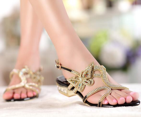 ФОТО 2017 Genuine Leather Women Summer Shoes Crystal Flats Sandals Brand Low Heel Sandals Ladies Party Shoes tenis feminino