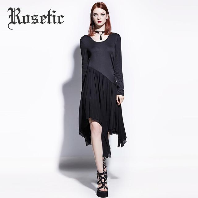 Vestido asimétrico gótico rosal para mujer negro otoño gótico vestidos  casuales retazos moda línea a Delgado 0a99bee5b8f3