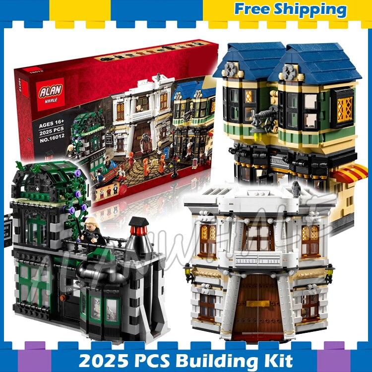 2025pcs Magic Diagon Alley Town Village 16012 Model Building Blocks Set Brick Holiday Hobby Christmas Gifts Compatible With Lego
