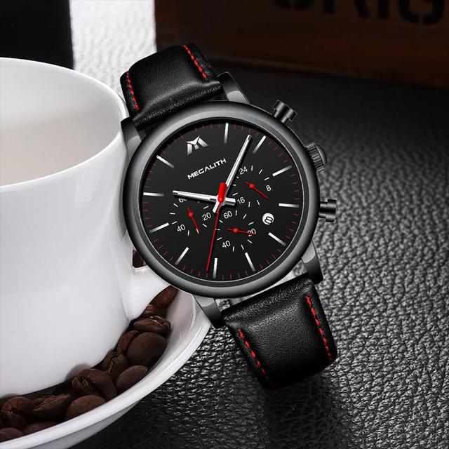 MEGALITH Fashion Sports Mens Watches Top Brand Luxury Waterproof Leather Strap Quartz Wrist Watches Men Clock Relogio Masculino