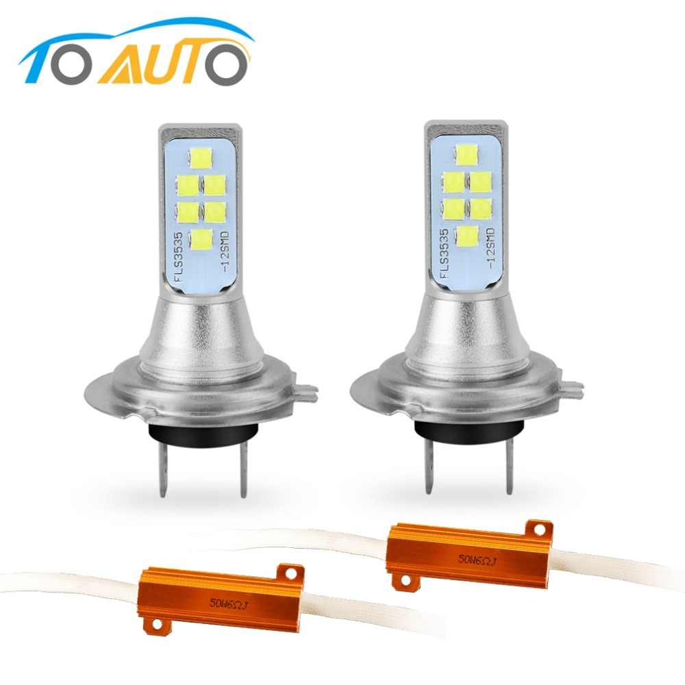 2Pcs H7 LED Bulb Canbus Error Free Super Bright 3535SMD Car Lights 12V 24V 6000K White Driving Day Running Lamp Auto Led H7 Bulb