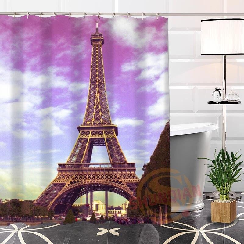 Eco Friendly Custom Unique The Eiffel Tower Fabric Modern Shower Curtain  Bathroom Waterproof For Yourself