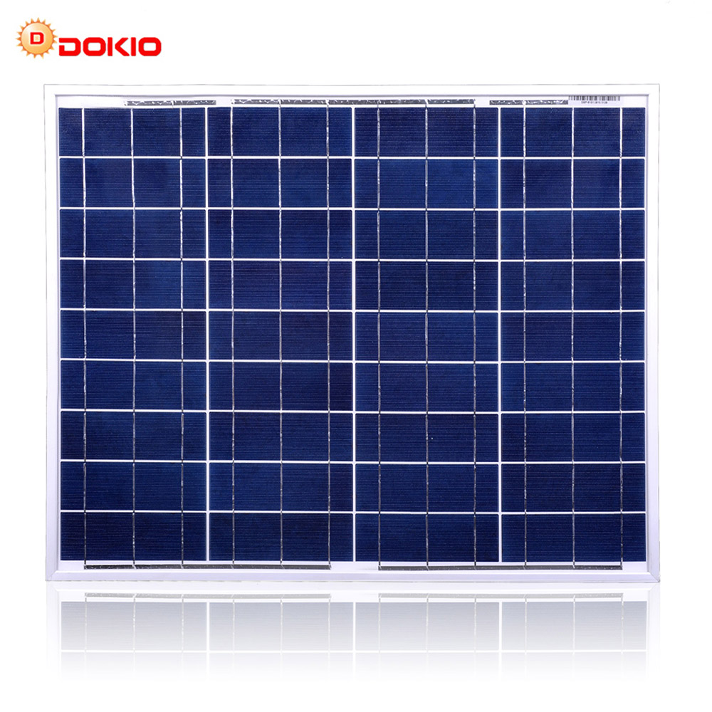 Dokio Brand 50W Polycrystalline Silicon Solar Panel China 18V 530x660x25MM Size Panel Solar Paneles solares China