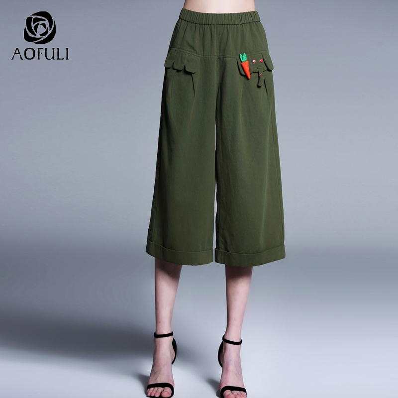 Symbol Of The Brand Aofuli L~ Xxxl 4xl Women Cotton Wide Leg Pants Plus Size Casual Cropped Pants Elastic Waist Calf-length Short Trousers A3931 Firm In Structure Women's Clothing