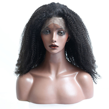 130% Density Afro Kinky Curly Full Lace Human Hair Wigs Brazilian Remy Pre Plucked With Baby Hair Natural Black Sunny Queen
