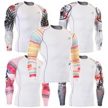 ФОТО gym Fitness Men Tshirt Compression shirt male long sleeve t-shirts Quick Dry Workout Clothes mens Training MMA Yoga Base Shirt