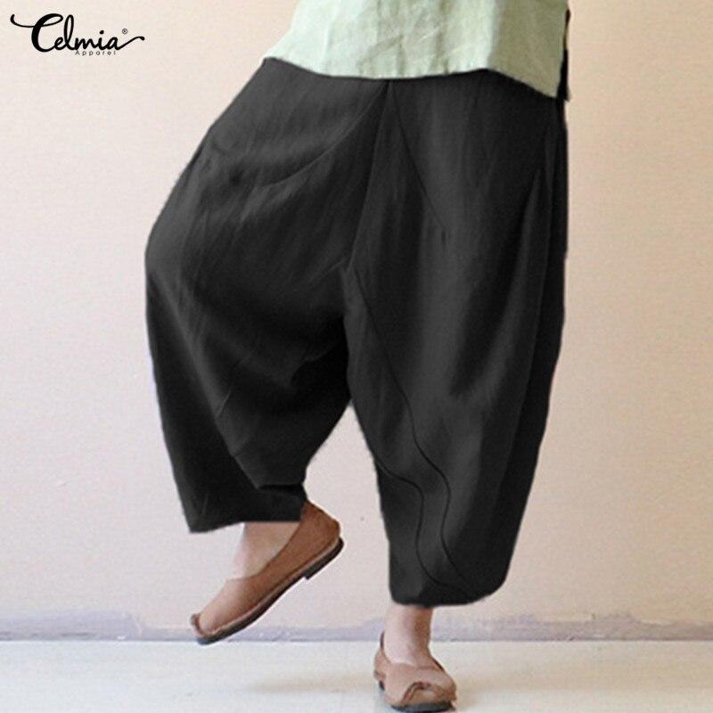 Celmia 2018 Vintage Baumwolle Leinen Breite Bein Hosen Frauen Palazzo Hosen Casual Baggy Harem Hose Weiblichen Hosen Plus Größe Pantalons