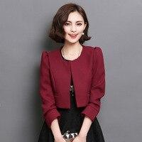 Vintage Style Lady Fashion Short Blazers Plus Size M 2XL 2016 New Autumn Korean Trendy Solid