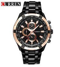 2016 Nuevo Curren cuarzo Tag Negro Moda de acero completa Casual reloj Hombre de Negocios Hombres Relojes hombre Simple Reloj de pulsera de regalo 8023