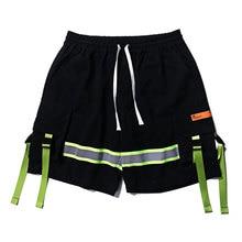 Stripe Buckle Straps Cargo Oversized Shorts Streetwear Hip Hop 2019 Men Casual Baggy Shorts Fashion Male недорого