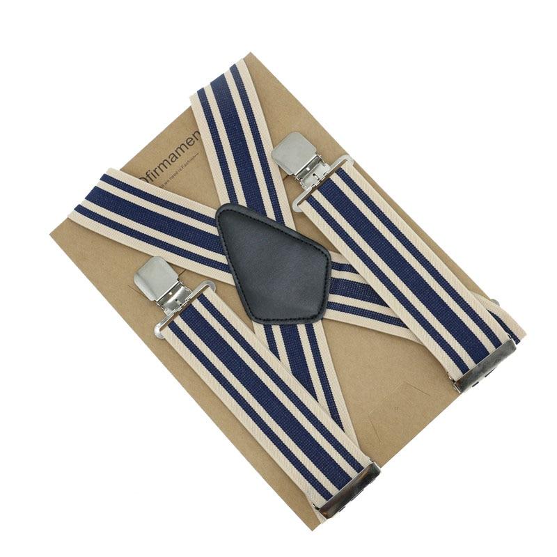 105*5cm X Back 4 Clip Braces Adjustable Fasion Men Business Striped Suspenders Trousers Strap Clip-on