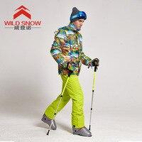 ผู้ชายสกีสูทป่าหิมะคนใหม่ของอากาศหลักฐานสภาพอากาศที่อบอุ่นชุดสกี