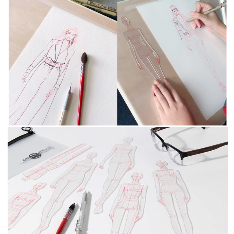 Fashion Design Ruler Cloth Design Line Drawing Apparel Garment Prototype Ruler Human Dynamic Template For School Student Drawing