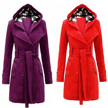 Womens Warm Winter Hooded Long Section Coat Belt Double Breasted Jacket  free shipping and wholesales