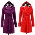 Mulheres Casaco de Inverno Quente Com Capuz Longa Seção Cinto Double Breasted Jacket frete grátis e vendas por atacado
