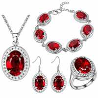 BRACELET Pendant necklace Earrings ring Thick silver set new color treasure set foreign trade red gem sterling