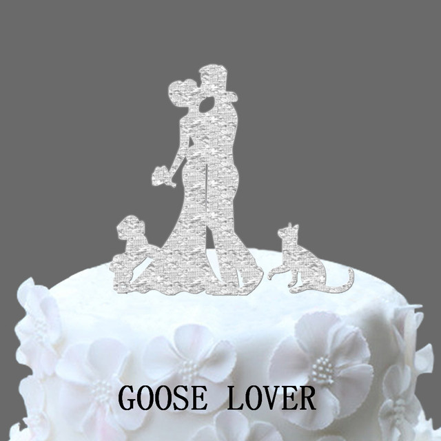 Wedding Cake Topper Bride And Groom Silhouette With Shih Tzu Dog And