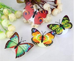 Image 3 - 10 ピース子供ルームカラフルな蝶 Led ナイトライトランプホームロマンチックな寝室パーティーデスク壁の装飾夜の光