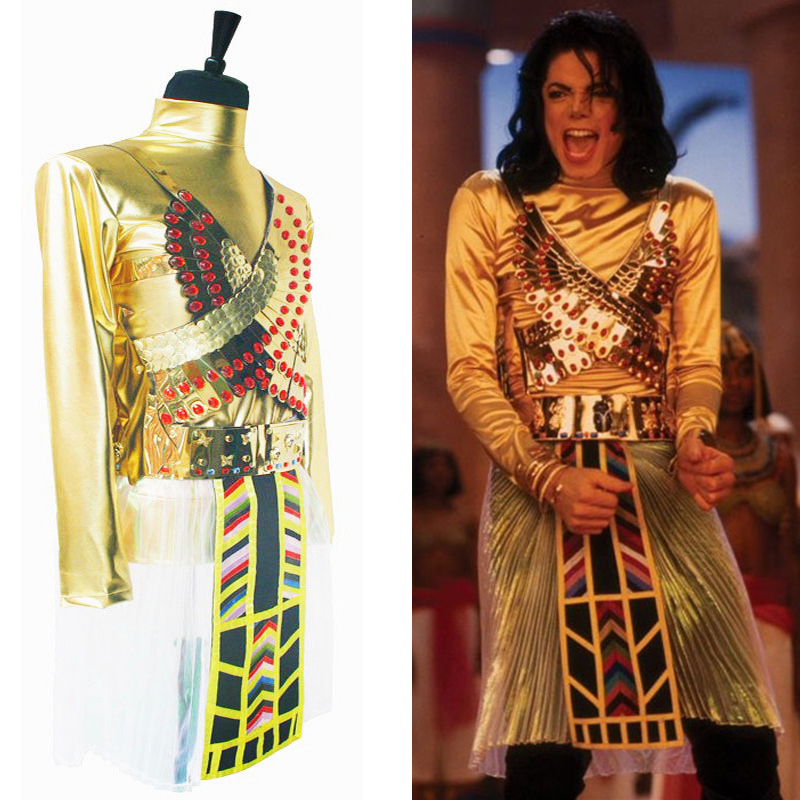 Classic MICHAEL JACKSON MJ Egypt Pharaoh Do You Remember The Time Set Unique Dance Outfit Wigs Halloween Costume Chritmas Show