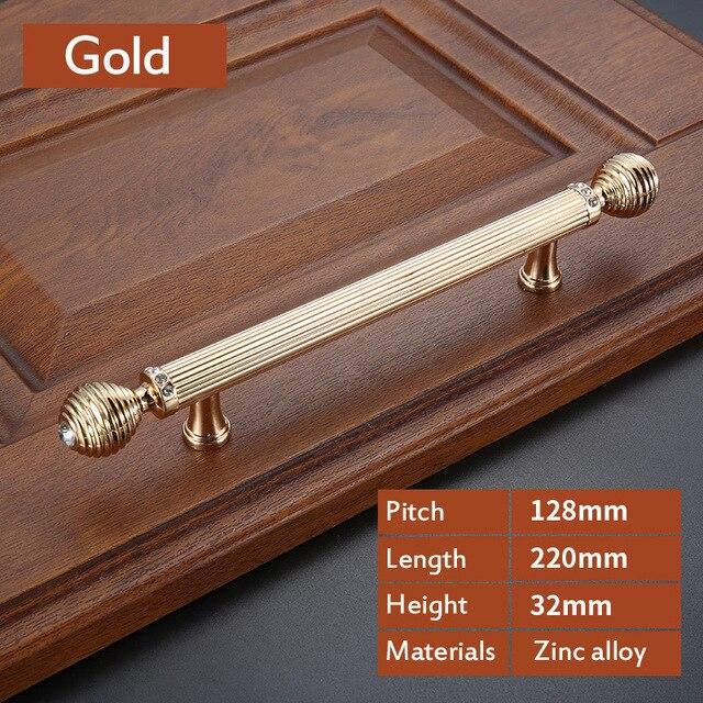 Роскошный Золотой цинковый сплав ручки ящика шкафа Европейский шкаф Мебельная ручка с винтом - Цвет: CRY0047-128