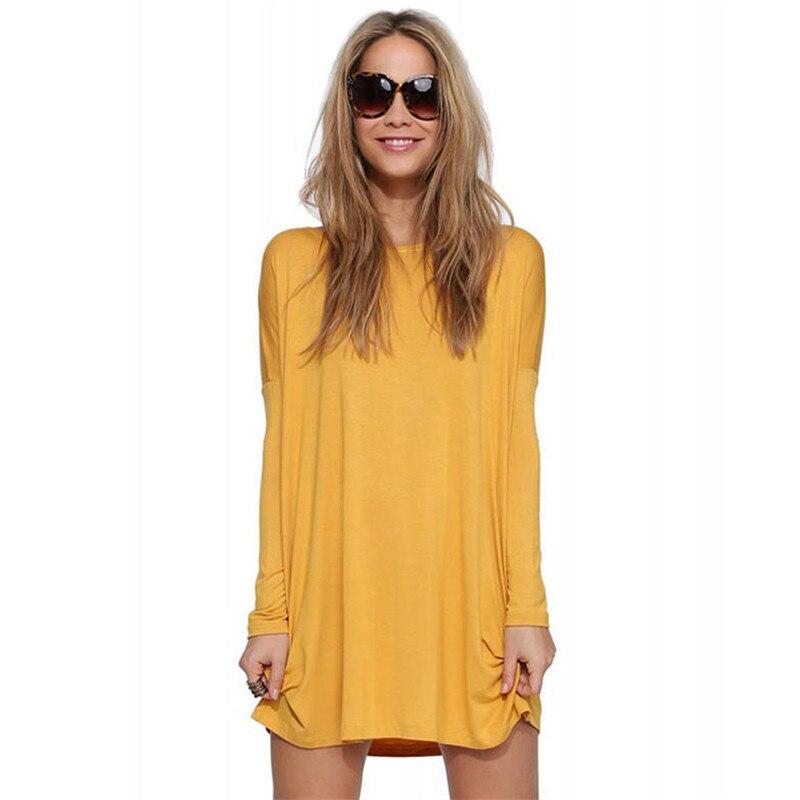 Female Cotton T Shirt Dress Long Sleeve Dresses Tshirt O Neck Yellow