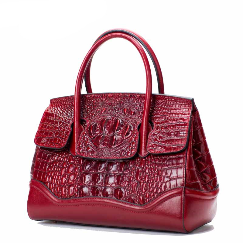 Luxury Fashion Crocodile Pattern Women Bag\Handbag Genuine Leather Tote Cowhide ladies' Casual Shoulder Bag Messenger Bag~17B16 luxury genuine leather bag fashion brand designer women handbag cowhide leather shoulder composite bag casual totes