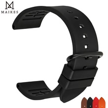 MAIKES New good quality 22mm 24mm fluororubber watchbands fashion sports fluoro gum rubber watch strap accessories