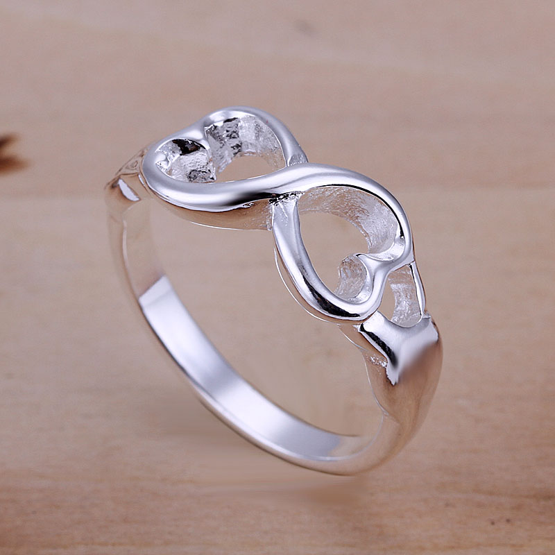 Infinity Symbol Double Heart Ring