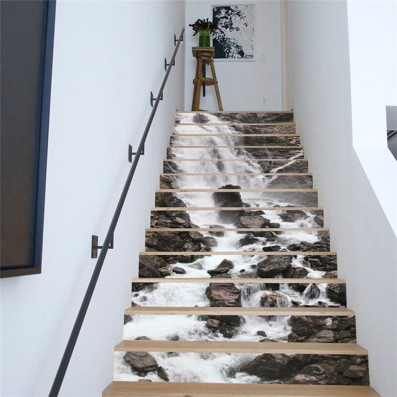 13 pièces/ensemble créatif bricolage 3D escaliers autocollants cascade motif pour maison escaliers décoration grand escalier mur autocollant