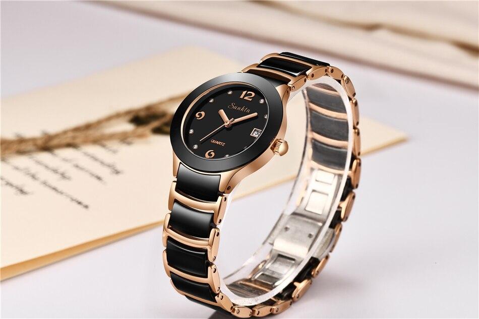 Relógio de Senhora Diamante Relógio de Cerâmica