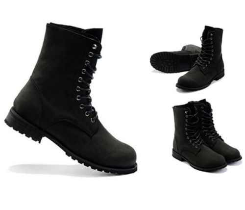 Details about Black Mens Retro Combat Boots High Top England Style ...