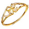 Bangles for women gold plated w/ Cubic zirconia luxury flower Bangle bracelets New design fashion jewelry Free shipping