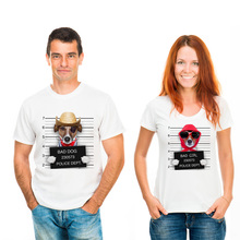 2017  Funny Cute Dog Couple Clothes  Summer Animal T Shirt WomanUnique Police Chihuahua Male Tees Bad Dog lovers Tops