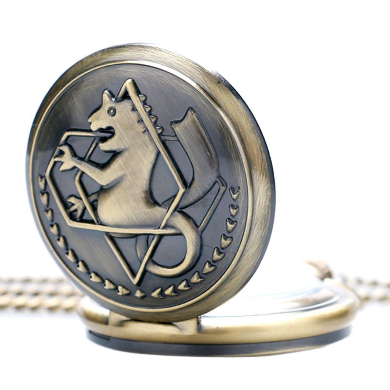 Vintage Bronze Animation Fullmetal Alchemist Theme Quartz Fob Pocket Watch With Necklace Chain Pendant Gifts Collectibles