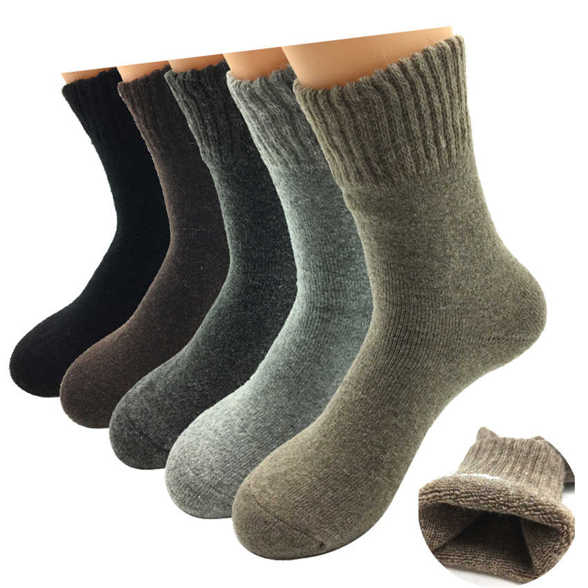 74a58c24e3ce 5 Pairs/Lot Thick Wool Socks Men Winter Cashmere Breathable Socks Male  Meias Hot Sale