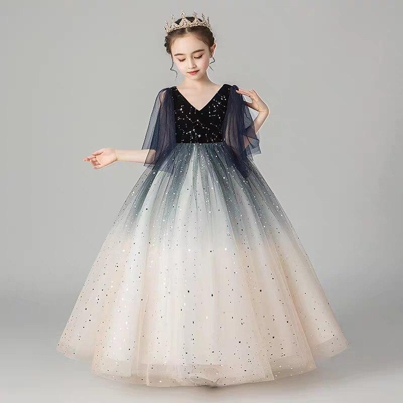 Children Girls Luxury V Collar Birthday Evening Party Princess Ball Gown Fluffy Dress Kids Model Show