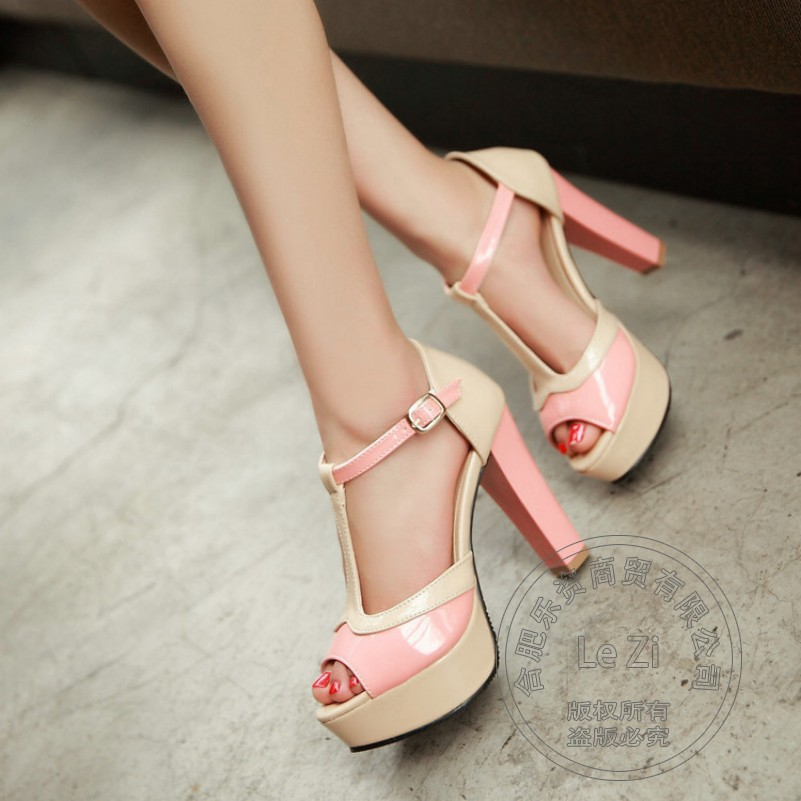 Pu Plain Buckle Strap Pink Leisure Chunky Heel Square Heel Japanned Leather Thick Soled Various Red