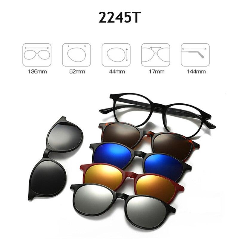 a4c4e5fc94 Comprar Monturas de gafas de moda para hombres y mujeres con 5 Clip en gafas  de sol tr90 gafas magnéticas polarizadas gafas de conducción masculina  miopía ...