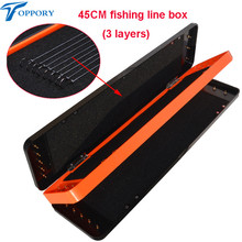 Toppory 45CM Durable Herabuna Fishing Line Box 3 Layers Storage Box For Fishing Line Fishing Gear Copper Pillar Hook Tackle Box