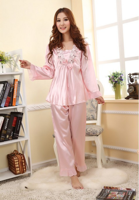 Female long sleeved pajamas silk bow lace underwear sets tracksuit satin pink color robe sleepwear